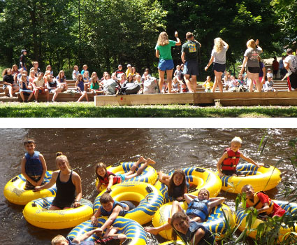 A collage of summer camp activities